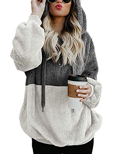 Romanstii Damen Kapuzen Sweatshirt Winter Fleece Pullover mit Tasche Mantel Sweatshirt mit Reißverschluss