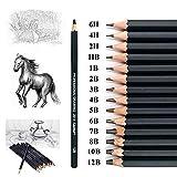 Ensemble de à dessin14 crayons à croquis graphite 12B 10B 8B 7B 6B 5B 4B 3B 2B B HB 2H 4H 6H pour étudiants enseignants enfants adultes artistes débutants professionnels (Boîte en papier gris)