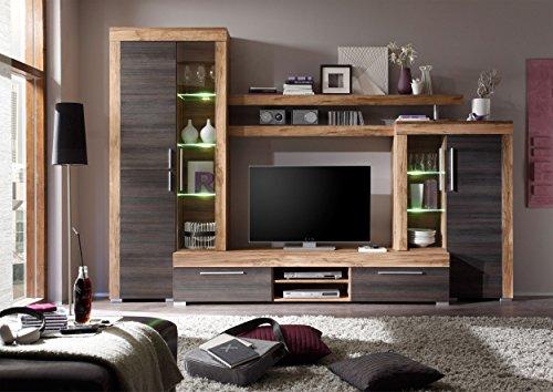 Homely Mueble de salón Modular Mallorca de 296 cm.con vitrinas y Mueble TV.