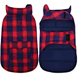 Kuoser Canvas Cold Weather Dog Coat for Winter, Reflective Dog Warm Fleece Jacket Water Repellent Windproof Dog Vest for Small Medium Large Dogs with Zipper Leash Hole Red Plaid L