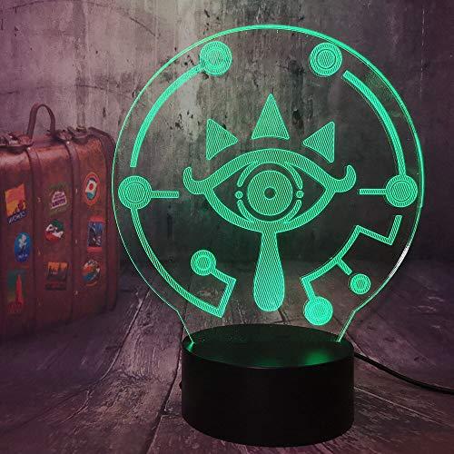 Cool The Legend of Zelda Game Shika Stone Eye Logo Sign 3D LED Acrílico Luz de noche Lámpara de mesa de escritorio USB Ventiladores para niños Dormitorio Niños Regalo Decoración para el hogar
