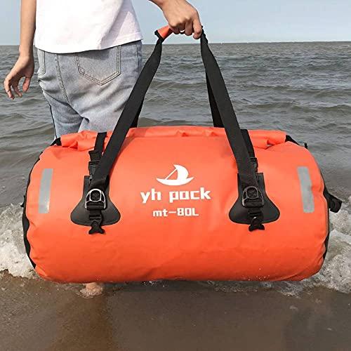Enipate - Borsone da moto, in PVC 600D, 40 l/80 l, impermeabile, con strisce riflettenti per campeggio, escursionismo, viaggi, palestra (arancione 40 L)