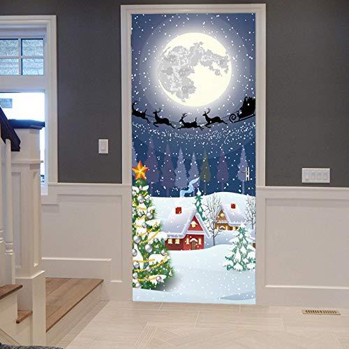 WZKED 3D Etiqueta De Puerta Iglú De Navidad Mural De La Puerta PVC Murales Carteles Pegatinas De Pared DIY Decoraciones para Sala De Baño Estar Cocina Infantiles Dormitorio 77X200Cm