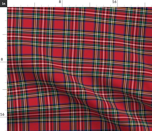 Spoonflower Fabric - Royal Tartan Style Christmas Plaid Kilt Red Black Green Blue Scottish Printed on Petal Signature Cotton Fabric by The Yard - Sewing Quilting Apparel Crafts Decor
