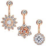 Jstyle 3 Pcs 14G Stainless Steel Belly Button Rings Barbell Navel Rings Bar for Women CZ Flower Body Piercing RSG