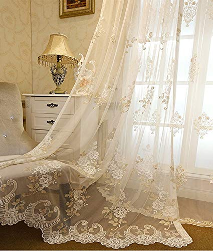 AiFish Romantic Embroidered Sheer Curtains Floral Tulle Gauze Curtains Rod Pocket Country Style Luxury Lace Voile Window Drape Panel Net Mesh Curtains for Living Room Beige 1 Piece W52 x L84 inch