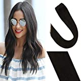 Sunny Human Hair Extensions Clip in One Piece Brown Silky Straight Remy Clip