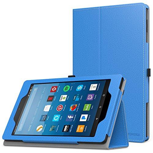 MoKo Hülle für All-New Amazon Fire HD 8 Tablet (7th und 8th Generation – 2017 und 2018 Modell) - Kunstleder Ständer Schutzhülle Smart Cover mit Stift-Schleife, Blau