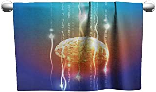 Fantasy Decor Quick Dry Towel Stream of Binary Digits Leaking from Abstract Brain Mental Creativity Theme Print W27 x L55 Multi