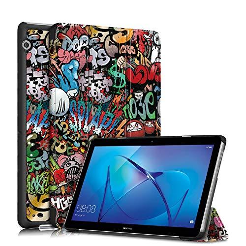 TOPCASE Custodia per Huawei Mediapad T3 10 9.6Pollice Ultra-sottile Cover con Funzione Supporto,Graffiti