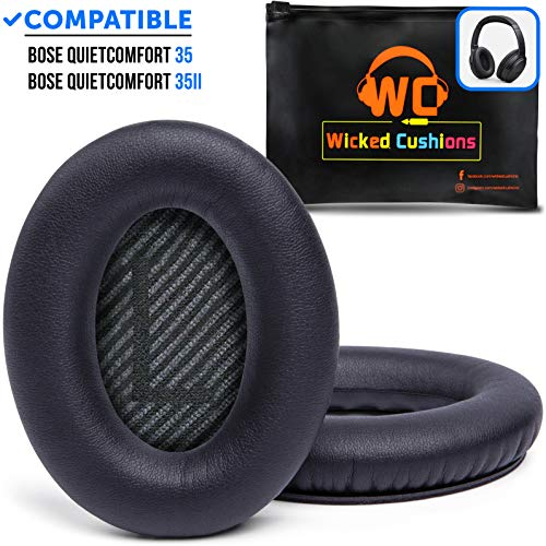 WC Premium Replacement Ear Pads for Bose QC35 & QC35ii Headphones Made by Wicked Cushions - Comfortable Adaptive Memory Foam - Extra Durable - Fits QuietComfort 35 & 35ii / SoundLink 1&2 AE