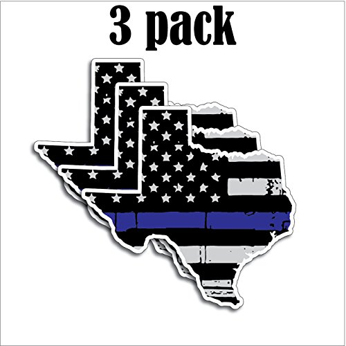 3 Pack of State of Texas Shaped Thin Blue Line Police Officer Tattered BLM American Flag Grunge Style Vinyl Decal Sticker Car Truck 5' x 4.7'