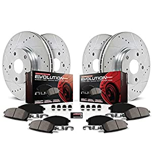 Power Stop K2070 Front & Rear Brake Kit with Drilled/Slotted Brake Rotors and Z23 Evolution Ceramic Brake Pads,Silver Zinc Plated