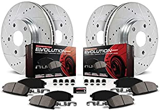 Power Stop K1418 Front and Rear Z23 Carbon Fiber Brake Pads with Drilled & Slotted Brake Rotors Kit