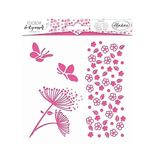 Aladine - Pochoir DIY Nature - Scrapbooking, Décoration et Carterie Créative - Lavable - 15 x 15 cm - Motifs Fleurs et Papillons