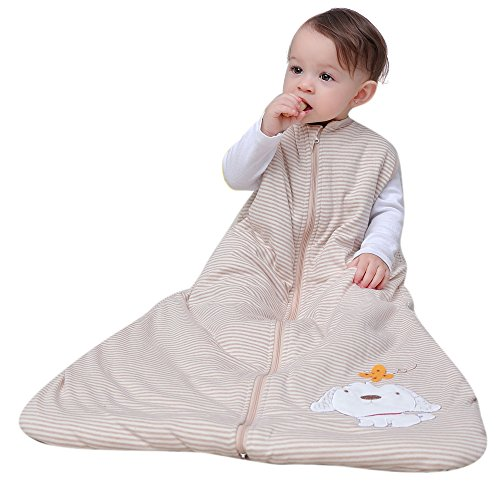 schlafsack baby winter Kinderschlafsack mädchen junge bio Baumwolle schlafanzug Hund Weiß - Ganzjährig 2.5 tog (130CM(3-6jahre)