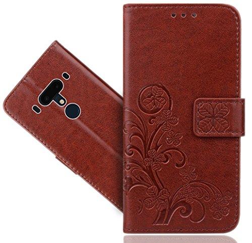 HTC U12+ / U12 Plus Handy Tasche, FoneExpert® Wallet Hülle Cover Flower Hüllen Etui Hülle Ledertasche Lederhülle Schutzhülle Für HTC U12+ / U12 Plus
