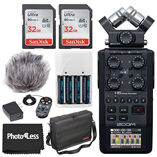 Zoom H6 All Black 6-Input /6-Track Portable Handy Recorder with Single Mic Capsule + Zoom APH-6 Accessory Pack + 2x 32GB Memory Card + 11' Accessory Pack + 4 AA Batteries and Charger + Cleaning Cloth