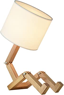 HAITRAL Bedroom Table Lamp - Fun Desk Lamps with Wooden Base ...