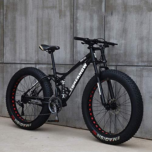 HECHEN 26 Zoll Mountainbike MTB, Fatbike 7/21/24/27 Gang Fette Reifen Snow Bike, Fat Tyre Fahrrad mit Scheibenbremsen, Bicycle Rahmen aus Kohlenstoffstahl, Vollfederung,Schwarz,26in7 Speed