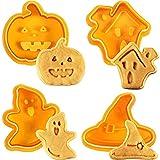 Kylewo 4Pcs Tagliabiscotti di Halloween Biscotti Biscotti Bakeware Fondente Biscotti Tagliapasta Set