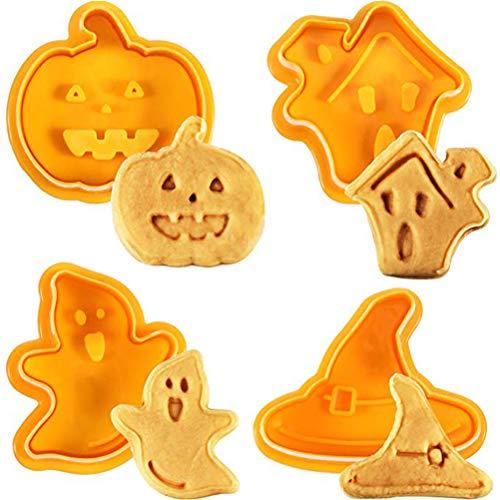 SAMTITY Halloween Plätzchenform, 4 Teile 3D Ausstecher Keks Stempel DIY Backform Ausstechformen Für Küchenwerkzeuge, Spukhaus, Hexenhut, Geist und Kürbis Stempel