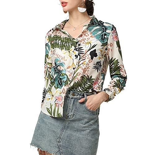 Shirts Met Lange Mouwen Dames Casual Losse Knopen Afdrukken Chiffon Blouse Grote Maat Lente En Zomer