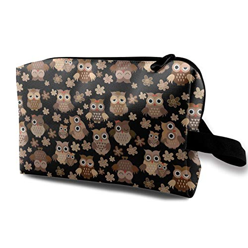 XCNGG Jugend Kosmetiktasche Exquisite Reise Make-up Taschen Multifunktions-Kulturtaschen Süße Eule Lustige Eule Braun Mit Blumen Blumen (2)