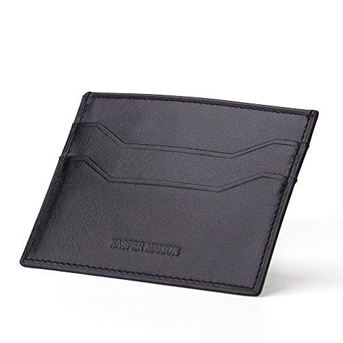 Kasper Maison Genuine Leather uomo Slim in pelle, Black (Nero) - KM-01