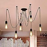 Oursun Kronleuchter Industrie Pendelleuchte Vintage Retro Spinne Lampe Hängend Deckenleuchte Hängelampe Pendellampe für Schlafzimmer Wohnzimmer Esszimmer (6 lights)