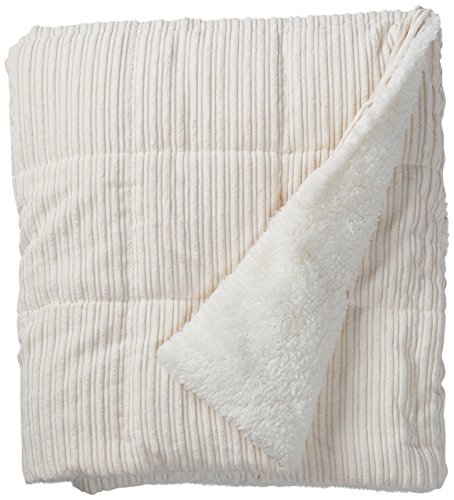 Madison Park Jackson Luxury Down Alternative Throw Ivory 50x60    Premium Soft Cozy Ultra Soft Corduroy For Bed, Couch or Sofa