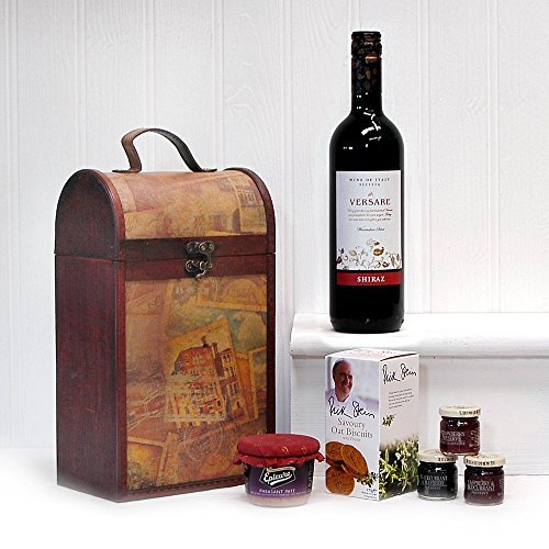 The Premium Clarendon Vintage Wooden Wine Chest Gift Food Hamper Includes 750ml Versare Red Wine - Gift Ideas for Mum, Dad, Fathers Day, Valentines, Mother's Day, Birthday, Anniversary, Business and Corporate, him, her