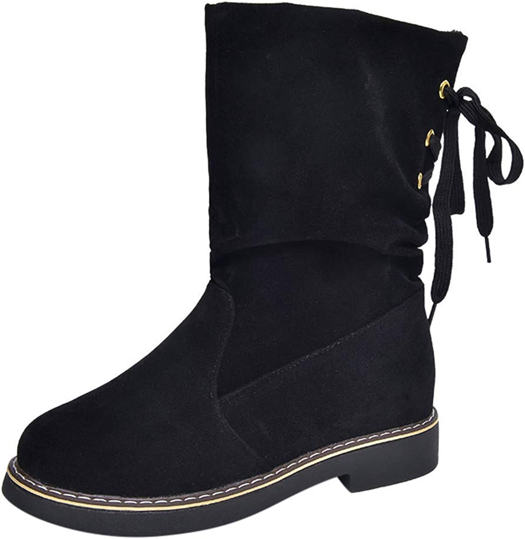 JaHGDU Women's Ladies Flock Winter Martin Mid Calf Snow Boots shoes Warm Fashion Leisure Elegant Cosy Wild Tight Super Quality for Womens