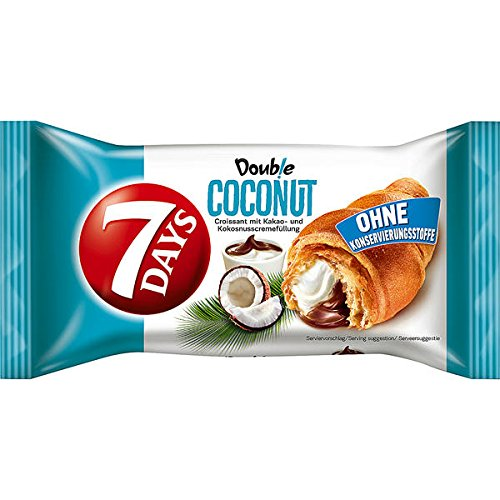 7 Days Double Coconut Croissant mit Kakao-Kokosnusscremefüllung, 20er Pack, (20 x 60g)
