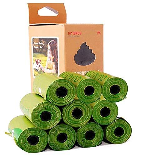 ThinkDo Totalización de 150 Perro Poop Bolsa Extra Grueso y Robusto Perro heces Bolsa Mascota Biodegradable Bolsa de Basura amigable con el Medio Ambiente garantizado a Prueba de Fugas (Verde)