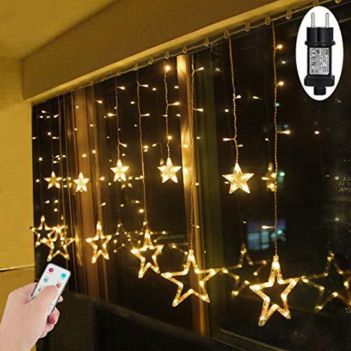 LED Lichtervorhang Sterne Warmweiß Mit Fernbedienung Weihnachtsbeleuchtung Innen Fenster Für Weihnachten Party Hochzeit IP44 31V 8 Modi Mit Timer Dimmbar 138er LEDs Lichterkette Aussen 2,5Mx1M