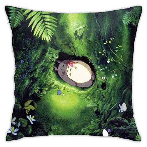 Totoro in The Forest Kussenhoezen, 45 x 45 cm, voor sierkussens, zacht, vierkant, decoratief voor thuis, sofa, bedkussen