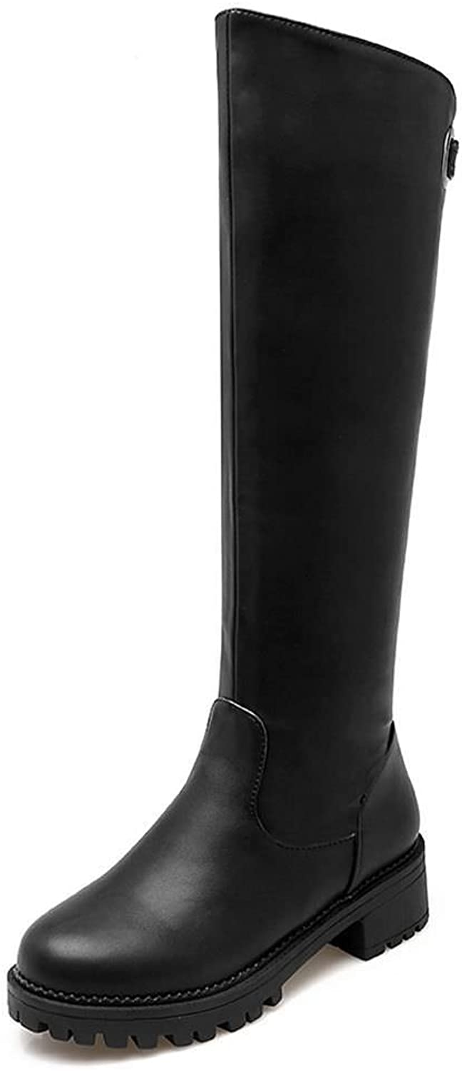 DecoStain Women's Embossed Leather Slip-On Rpund Toe Belt Buckle Decoration Knee-High Boots