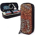 Everett - Estuche de lápices de cuero de gran capacidad de apellido americano, lápiz, lápiz,...