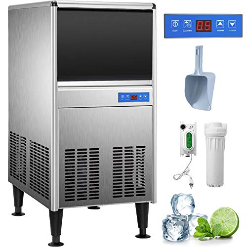 VEVOR 110V Commercial Ice Maker 95LBS/24H with 50LBS Bin, ETL Approved, Full Stainless Steel Construction, Auto Clean, Clear Cube, Air-Cooled, Include Water Filter, Electric Drain Pump, Ice Scoop