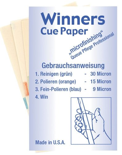 "Profi Queue Pflege, Winners Cue-Paper (Set). ""Micro""-Schleifpapier"