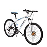 26 Inch Moutain Bike for Women and Men, 21 Speed Dual Disc Brake City Moutain Bicycle for Adults and...