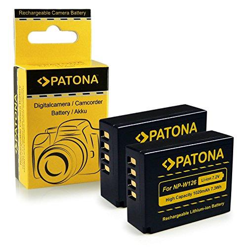 PATONA 2x Batteria Sostituzione per Fuji NP-W126 compatibile con Fujifilm FinePix HS30EXR HS33EXR HS50EXR XPro-1 XPro-2
