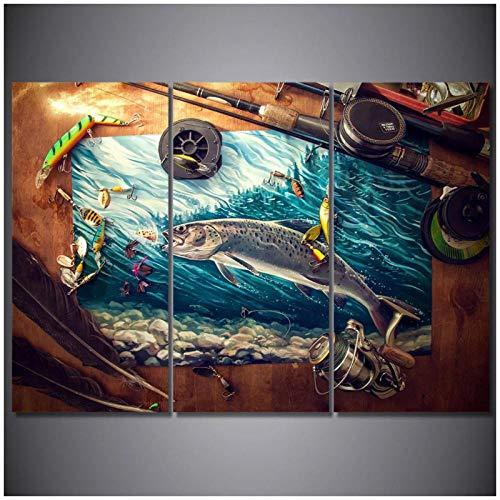 WLKQY 3 piezas de decoración para el hogar lienzo pintura arte de la pared océano azul Tuna pintura lienzo póster para sala de estar-40x80 cm sin marco