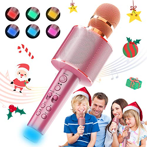 BLAVOR Bluetooth Karaoke Microphone Wireless, Portable Handheld Magic Sing Speaker Machine with LED Lights Party Birthday Toys Age 4-12 Kids Adults for Android/iPhone/PC(Rose Gold)