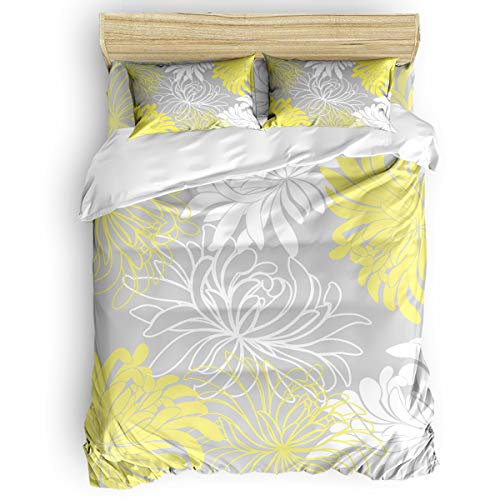 EZON-CH Stylish Bed Sheet Sets 4 Pcs Duvet Cover Set for Home Hotel Decor, Colorful Floral Pattern White Yellow Grey Queen Comforter Bedding Set with 2 Pillowcases 1 Duvet Cover and 1 Bed Sheet