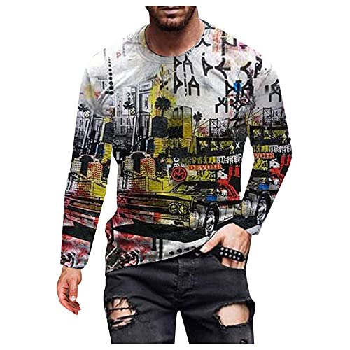 sterotw Men's Casual Street 3D Digital Printing Round Neck Long Sleeve T-Shirt Top, bianco, L