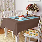LUOLUO - Mantel rectangular impermeable, lavable y lavable, mantel de lino para mesa de co...
