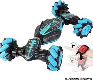 Kennifer Stunt RC Car, 2.4G 4WD Stunt Gesture Remote Control Drift Car, Light Music Off-Road Vehicle Gesture Sensing Twisting Vehicle Driving Toy for Children (Blue)