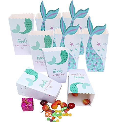 Cajas de Palomitas,Liwein Bolsas Palomitas de Maíz Cartón Patrón de Sirena Dulces Sostenedor Cajas de Cartón de Bolsas de Papel para Niños Bolsos de Fiesta Caramelos Chuches Decoracion 24 Piezas